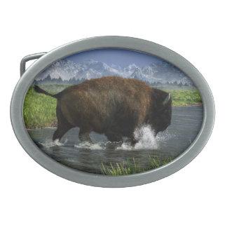 Buffalo Crossing a River Belt Buckle