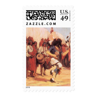 Buffalo Dance by Cassidy, Vintage Native Americans Postage Stamp