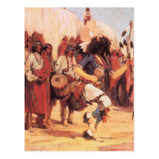Buffalo Dance by Cassidy, Vintage Native Americans Postcard