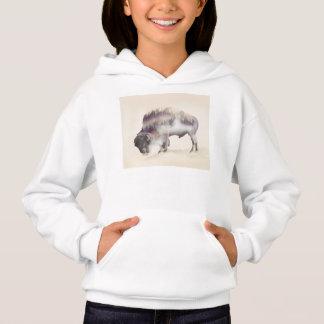 Buffalo-double exposure-american buffalo-landscape hoodie