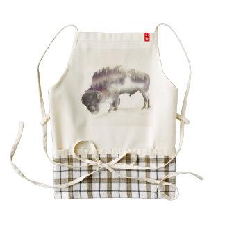 Buffalo-double exposure-american buffalo-landscape zazzle HEART apron