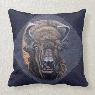 Buffalo Eating Blue Denim Border Throw Pillow