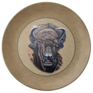 Buffalo Eating Border Porcelain Plate