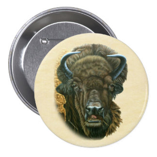 Buffalo Eating 3 Inch Round Button