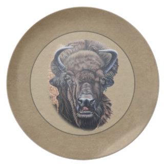 Buffalo Eating Dark Brown Border Dinner Plate