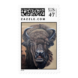 Buffalo Eating Light Brown Background Postage