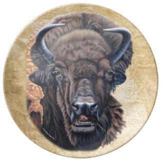 Buffalo Eating Porcelain Plate
