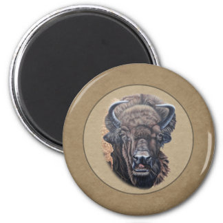 Buffalo Eating Round Brown Border 2 Inch Round Magnet