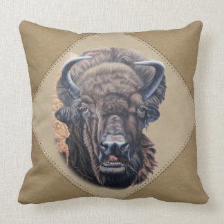 Buffalo Eating Tan Triangles Throw Pillow