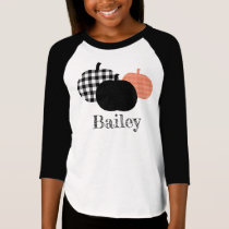 Buffalo Gingham Plaid Pumpkins Personalized Name T-Shirt