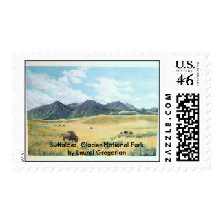 Buffalo, Glacier National Park by L. Gregorian Postage Stamps