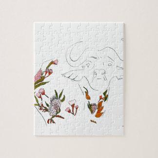 Buffalo goes floral jigsaw puzzle