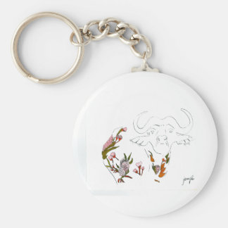 Buffalo goes floral basic round button key ring