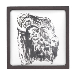 "Buffalo Head 3"" Square Gift Jewelry Box"