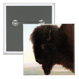 Buffalo Head art Albert Bierstadt bison painting 2 Inch Square Button