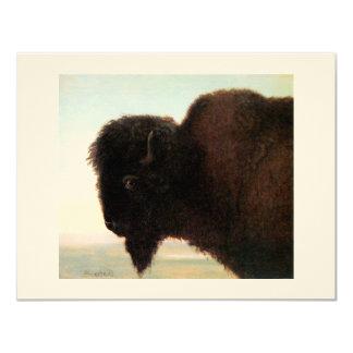 Buffalo Head art Albert Bierstadt bison painting 4.25x5.5 Paper Invitation Card