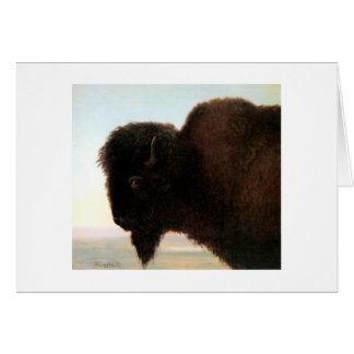 Buffalo Head art Albert Bierstadt bison painting Greeting Card