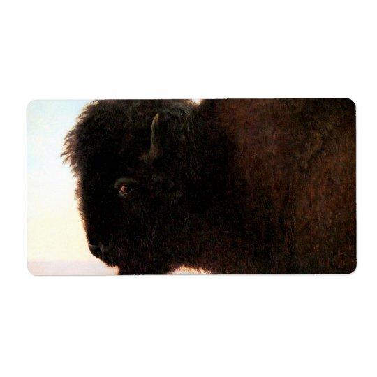Buffalo Head art Albert Bierstadt bison painting Label