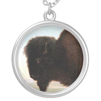 Buffalo Head art Albert Bierstadt bison painting Round Pendant Necklace