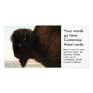 Buffalo Head art Albert Bierstadt bison painting Photo Card