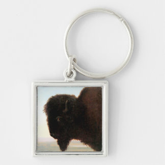 Buffalo Head art Albert Bierstadt bison painting Silver-Colored Square Keychain