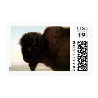 Buffalo Head art Albert Bierstadt bison painting Stamps