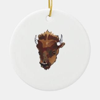 BUFFALO HEAD Double-Sided CERAMIC ROUND CHRISTMAS ORNAMENT