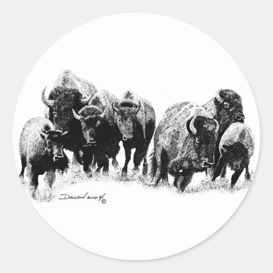 Buffalo Herd Classic Round Sticker