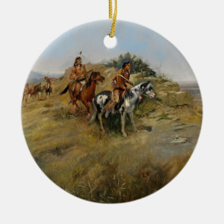 Buffalo Hunt, 1891 (oil on canvas) Double-Sided Ceramic Round Christmas Ornament