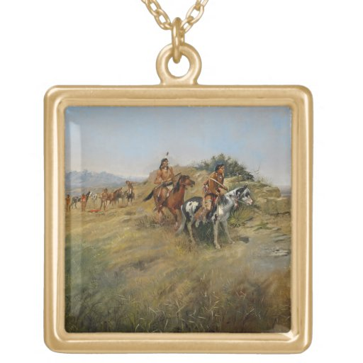Buffalo Hunt, 1891 (oil on canvas) Square Pendant Necklace