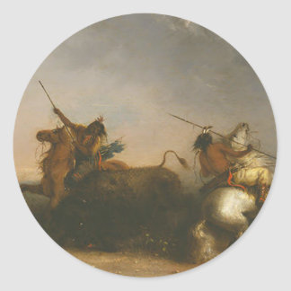 Buffalo Hunt by Alfred Jacob Miller Classic Round Sticker