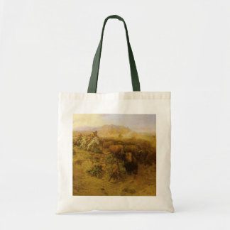 Buffalo Hunt by CM Russell, Vintage Indians Canvas Bags