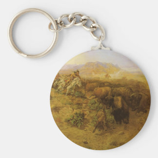 Buffalo Hunt by CM Russell, Vintage Indians Basic Round Button Keychain