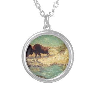 Buffalo Hunt by Robert Julian Onderdonk Round Pendant Necklace