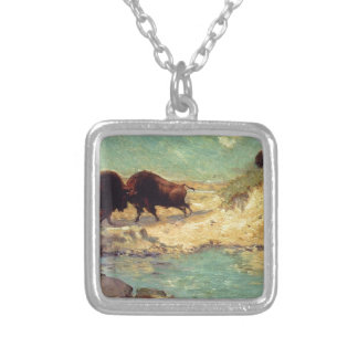 Buffalo Hunt by Robert Julian Onderdonk Square Pendant Necklace