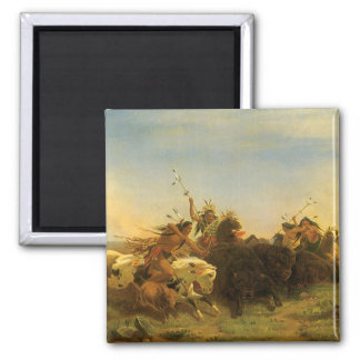 Buffalo Hunt by Wimar, Vintage American West Art Magnets