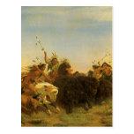 Buffalo Hunt by Wimar, Vintage American West Art Postcard