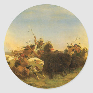 Buffalo Hunt by Wimar, Vintage American West Art Round Stickers