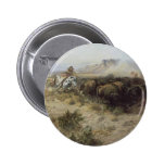 Buffalo Hunt No. 26 by CM Russell, Vintage Indians 2 Inch Round Button