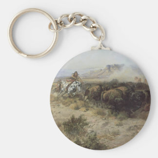 Buffalo Hunt No. 26 by CM Russell, Vintage Indians Basic Round Button Keychain