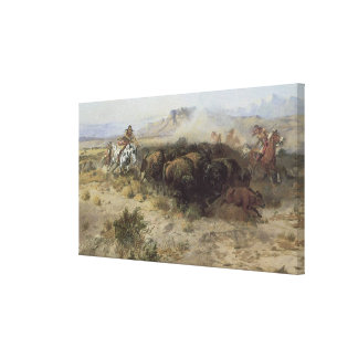 Buffalo Hunt No. 26 by CM Russell, Vintage Indians Canvas Print