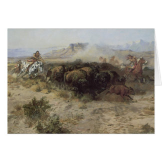 Buffalo Hunt No. 26 by CM Russell, Vintage Indians Card