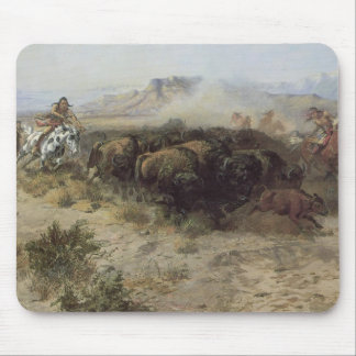 Buffalo Hunt No. 26 by CM Russell, Vintage Indians Mouse Pad