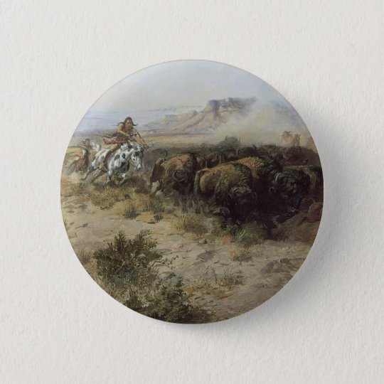 Buffalo Hunt No. 26 by CM Russell, Vintage Indians Pinback Button