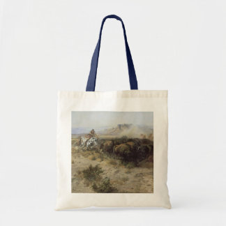 Buffalo Hunt No. 26 by CM Russell, Vintage Indians Tote Bag
