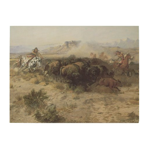 Buffalo Hunt No. 26 by CM Russell, Vintage Indians Wood ...