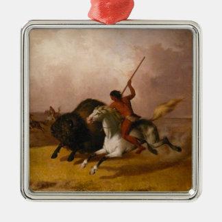 Buffalo Hunt on the Southwestern Plains - 1845 Square Metal Christmas Ornament