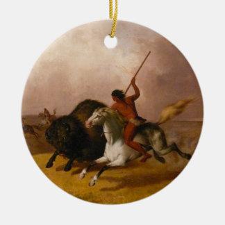 Buffalo Hunt on the Southwestern Plains - 1845 Double-Sided Ceramic Round Christmas Ornament