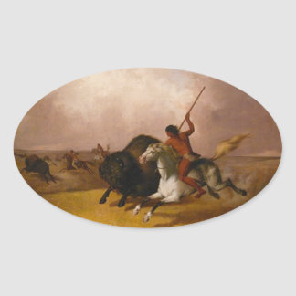 Buffalo Hunt on the Southwestern Plains - 1845 Oval Sticker