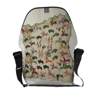 Buffalo hunt (pigment on elk-skin) courier bag